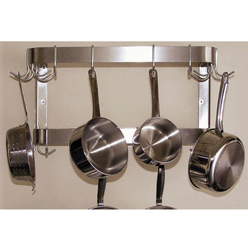 Wall Mounted Pot Racks in Rectangular HalfRound Bar Shapes