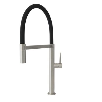 Kitchen Sink Faucet In Brushed Stainless Steel and Black