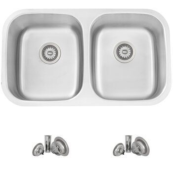 No Grid - 16 Gauge Kitchen Sink With Included Strainers (x2)