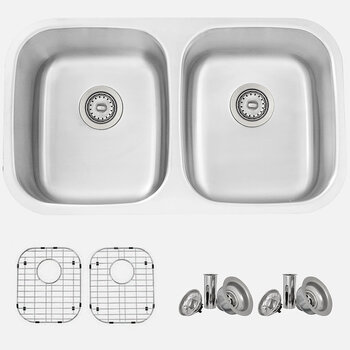 With Grid - 16 Gauge Kitchen Sink with Included Sink Grids (x2) and Strainers (x2)
