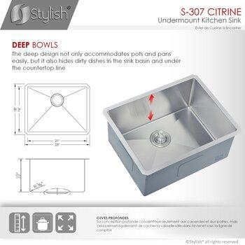 23'' W Kitchen Sink - Dimensions