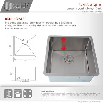 """19"""" W Kitchen Sink - Dimensions"""