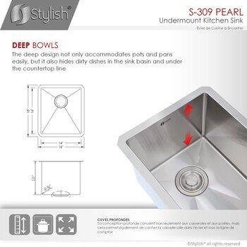 """16"""" W Kitchen Sink - Dimensions"""