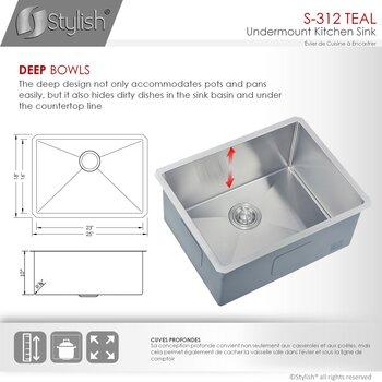 """25"""" W Kitchen Sink - Dimensions"""