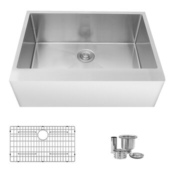 """30"""" W Kitchen Sink with Included Grid and Strainer"""
