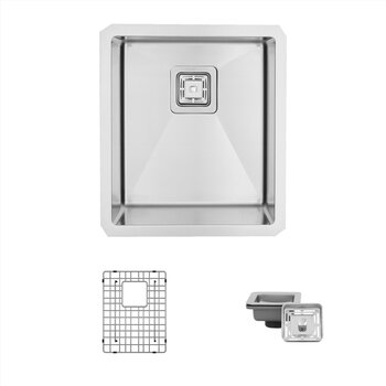 Stainless Steel Kitchen Sink with Included Grids (x2) and Square Strainers (x2)