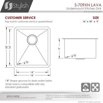 """16"""" Kitchen Sink - Dimensions"""