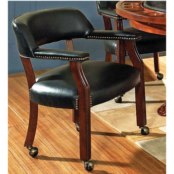 Steve Silver Tournament Arm Chair with Casters, Black, Cherry Finish