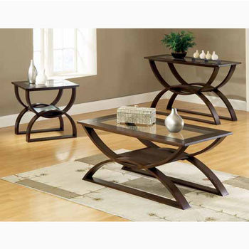 """Steve Silver Dylan Cocktail Table, 48""""W x 24""""D x 21""""H, with 5mm clear glass insert"""
