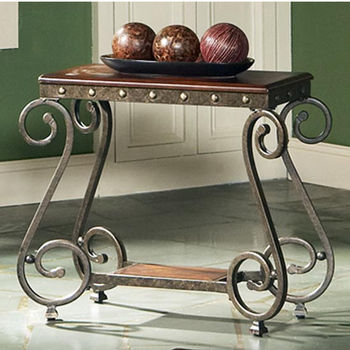 Steve Silver Ellery Chairside End Table, Metal Base and Glass Top