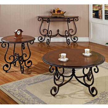Steve Silver Crowley Living Room Set with Cocktail, End & Sofa Table, Cherry Finish