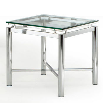 Steve Silver Nova End Table, Glass Top and Chrome Base