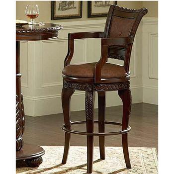 Steve Silver Antoinette Swivel Bar Chair , Cherry Finish