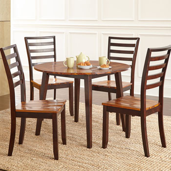"""Steve Silver Abaco Double Drop Leaf Table 42"""" Round, Acacia Finish"""