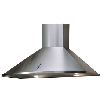 Sirius SUE3 Wall Mount Chimney Range Hood, 375 CFM Internal Blower, Stainless Steel, 3 Speed Push Button Control Panel, Halogen Lamps