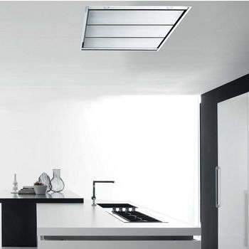 Sirius SUT950 Island Ceiling Mount Range Hood, External Blower, Stainless Steels (not included), 4 Speed Remote Control, 4 Dichroic Lamps