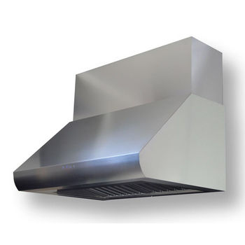 Sirius SUTC35 Pro-Style Wall Mount Canopy Range Hood, Internal Blower, Stainless Steel, 4 Speed Push Button Control Panel, 2x-20W Halogen Lights