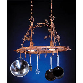 Steelworx Ponderosa Oval Hanging Pot Rack With Grid And 2 Downlights In Finish