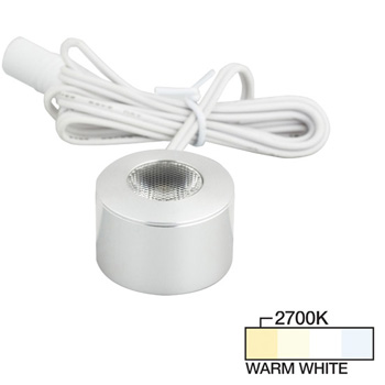 """Task Lighting Round Mini Series 1-3/16"""" Diameter Brushed Aluminum Puck Light with Frosted, Light Diffusing Lens, Warm White 2700K, 1-3/16"""" Diameter x 7/8"""" H"""