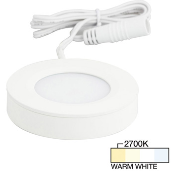 """Task Lighting illumaLED™ Pearl Series 2-3/4"""" Diameter White Puck Light with Frosted and Diamond Lens, Warm White 2700k, 2-3/4"""" Diameter x 5/8"""" H"""
