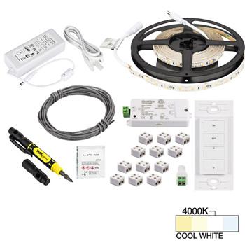 "Task Lighting illumaLED™ Radiance Series 16' Feet Tape Light Uno Wireless Kit, 1-Zone, 1-Area, Medium Light Output, Cool White 4000K, 197"" Length x 5/16""W x 1/16"" H"