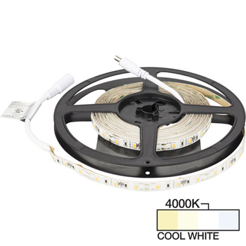 "Task Lighting illumaLED™ Radiance Series 16' Foot LED Tape Light, Medium Light Output, Cool White 4000K, 197"" Length x 5/16""W x 1/16"" H"