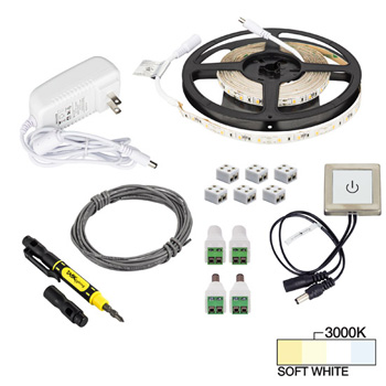 """Task Lighting illumaLED™ Radiance Series 16' Feet Tape Light with Touch Dimmer Kit, 1 Zone, 1 Area, Soft White 3000K, 197"""" Length x 5/16""""W x 1/16"""" H"""