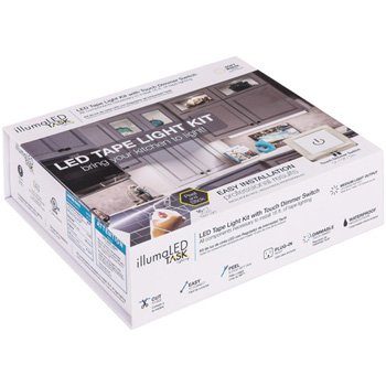 Task Lighting illumaLED™ Radiance Series 16' Feet Tape Light with Touch Dimmer Switch Kit, 1-Zone, 1-Area, Soft White 3000K or Cool White 4000K