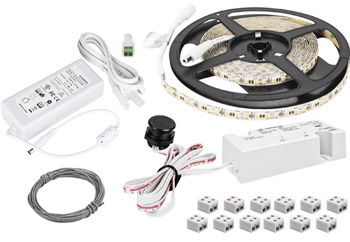 """Task Lighting illumaLED™ TandemLED™ 16' Feet Tape Light Kit with Wired Controller, 1 Zone/Area, 2700K-5000K Tunable, 197"""" Length x 5/16"""" W x 1/16"""" H"""