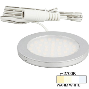 """Task Lighting Vivid Ultra Thin Series Satin Nickel Puck Light with Frosted, Light Diffusing Lens, Warm White 2700K , 2-5/8"""" Diameter x 1/4"""" H"""