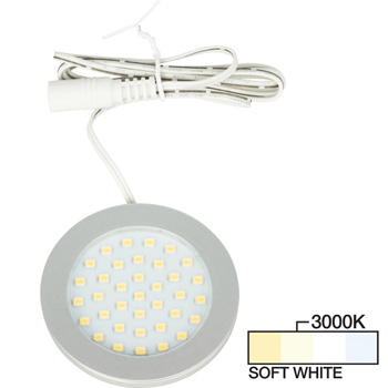 Satin Nickel Puck Light Soft White 3000K Product View