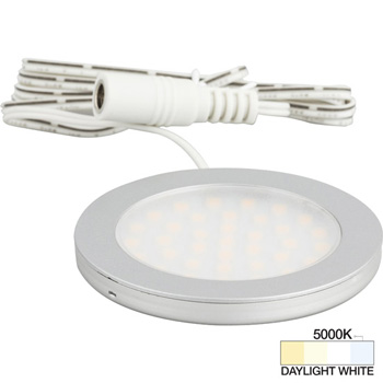 """Task Lighting Vivid Ultra Thin Series Satin Nickel Puck Light with Frosted, Light Diffusing Lens, Daylight White 5000K, 2-5/8"""" Diameter x 1/4"""" H"""