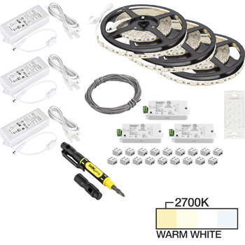 "Task Lighting illumaLED™ Vivid Series 49' Tape Light Quattro Wireless Contractor Kit, 3-Zone, 3-Area, High Light Output, Warm White 2700K, (3) Rolls 197"" Length x 5/16""W x 1/16"" H"