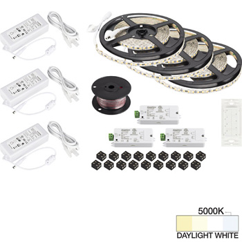 "Task Lighting illumaLED™ Vivid Series 49' Tape Light Quattro Wireless Contractor Kit, 3-Zone, 3-Area, High Light Output, Daylight White 5000K, (3) Rolls 197"" Length x 5/16""W x 1/16"" H"