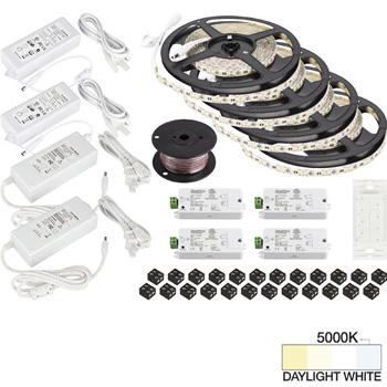 "Task Lighting illumaLED™ Vivid Series 65' Tape Light Quattro Wireless Contractor Kit, 4-Zone, 4-Area, High Light Output, Daylight White 5000K, (4) Rolls 197"" Length x 5/16""W x 1/16"" H"