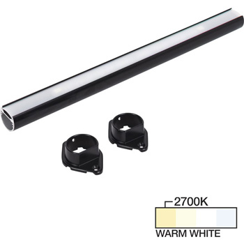 """Task Lighting sempriaLED® LC9R Series 18"""" to 90"""" Black LED Lighted Closet Rod Fixture, Warm White 2700k"""