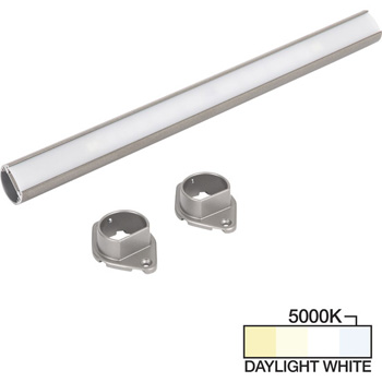 """Task Lighting sempriaLED® LC9R Series 18"""" to 90"""" Satin Nickel LED Lighted Closet Rod Fixture, Daylight White 5000k"""
