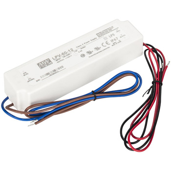 "Task Lighting Waterproof LED Hardwired Power Supply, 60 Watts, 12V DC, 6-1/2"" W x 1-5/8"" D x 1-1/4"" H"