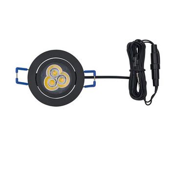 """Tresco 12VDC Pockit Swivel Spot LED Light, Recess, 3W, 5000K, Black, with 79"""" Starter Lead"""