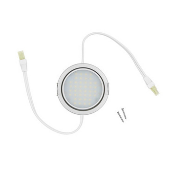 Tresco 3W Nickel 5000K LED Pockit T2 Linkable Light, 120V, Double Lead (input/output)