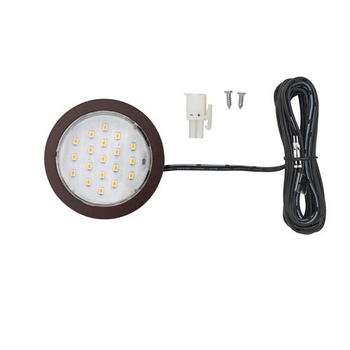 """Tresco 12VDC Pockit Plus LED Metal Light, Frosted, 1.5W, 5000K, Oil Rubbed Bronze with 79"""" Starter Lead & Surface Mount Ring"""