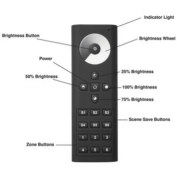 Tresco by Rev-A-Shelf FREEDiM Series 12VDC 6-Zone Remote Dimmer, Black, AAA Batteries Not Included