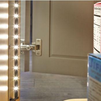 "Tresco by Rev-A-Shelf 12V Lazy Susan LED Lighting Kit, with 23"" Angled Elli V 3500K LED Light, 6W Transformer & Door Sensor"
