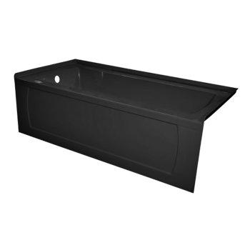 "Valley Acrylic OVO 66"" W x 30"" D Black Acrylic Bathtub with Decorative Integral Skirt, Left Hand Drain, 66"" W x 30"" D x 20"" H"