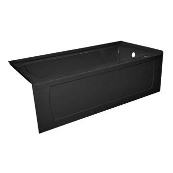 "Valley Acrylic OVO 66"" W x 30"" D Black Acrylic Bathtub with Decorative Integral Skirt, Right Hand Drain, 66"" W x 30"" D x 20"" H"