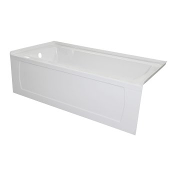 "Valley Acrylic OVO 66"" W x 32"" D White Acrylic Bathtub with Decorative Integral Skirt, Left Hand Drain, 66"" W x 32"" D x 20"" H"
