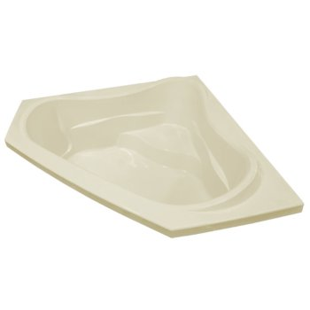 """Valley Acrylic Vita 60"""" W x 60"""" D Biscuit Acrylic Corner Drop In Bathtub with Large Contoured Interior and Integral Molded Seat, 59-3/4"""" W x 59-3/4"""" D x 22"""" H"""