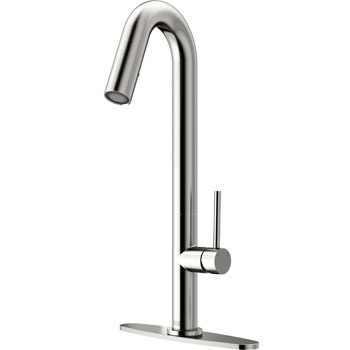 Vigo Oakhurst LED Pull-Down Kitchen Faucet with Deck Plate, Stainless Steel