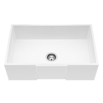 Vigo Square Front Matte Stone Farmhouse Kitchen Sink, 30""
