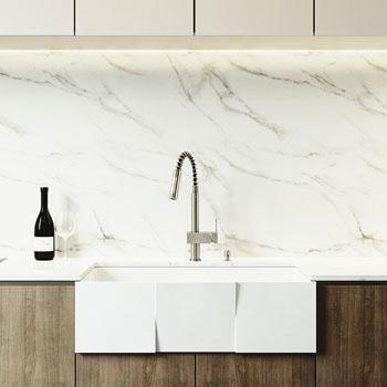 "Vigo Square Front Matte Stone Farmhouse Kitchen Sink, 33"""